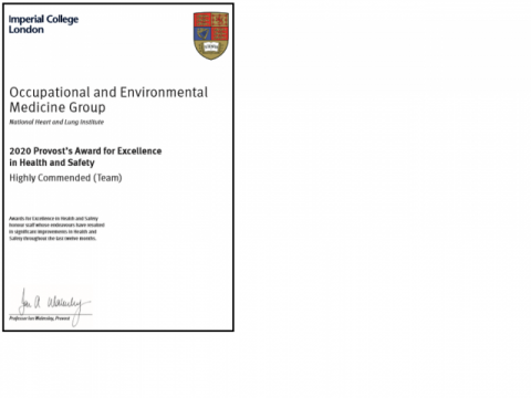 'Highly commended' certificate - Provost's Awards for Health & Safety 2020